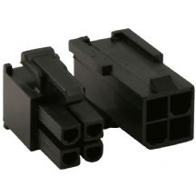 4 Pin Black ATX/EPS Connectors - 1 Each Male And Female With Crimps